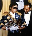 Michael jackson and quincy jones at the grammys in 1116397641