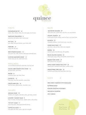 Quince menu