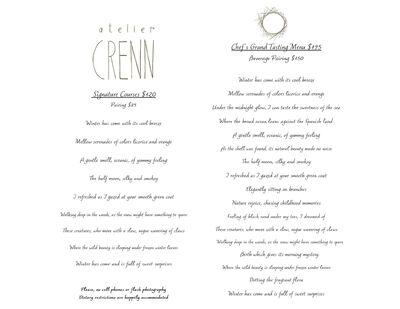 Atelier Crenn Menu March 2014