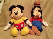 Talking mickey and goofy dolls