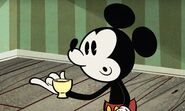 Mickey drinking tea