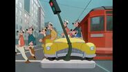 Goofies emerging from streetcar
