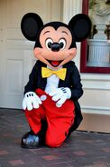 Mickey Mouse kneels