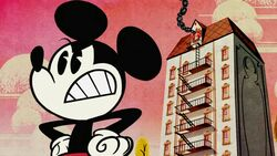 Mickey and burning building