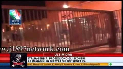 Włochy - Serbia; 12.10.2010 Genua. Zamieszki na ulicach