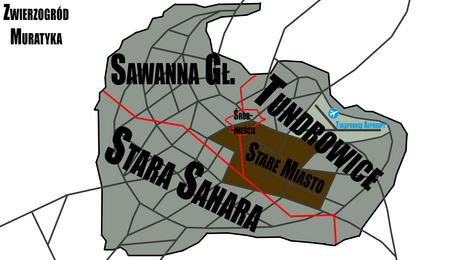 Mapa Zwierzogrodu dzielnice