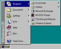 Windows 95 Start menu