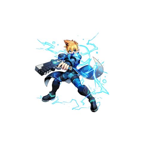Gunvolt as he appears in <i>Azure Striker Gunvolt</i>
