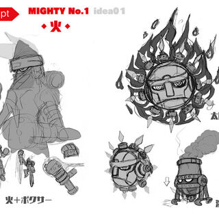 Concept art of Sun, furnace and boxer inspired versions of the character.