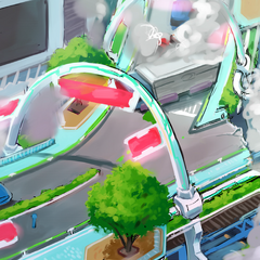 Concept art for the freeway section of the stage.