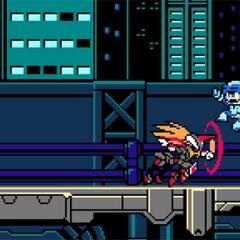 Beck facing Viper from Azure Striker Gunvolt.
