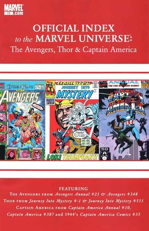 Avengers, Thor and Captain America Official Index to the Marvel Universe Vol 1 11