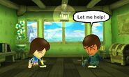 A Mii helps another Mii clean their room