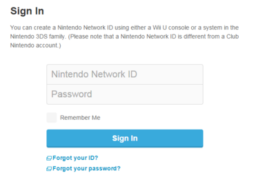 Nintendo network login