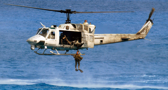 UH-1N drops marine off the coast of egypt