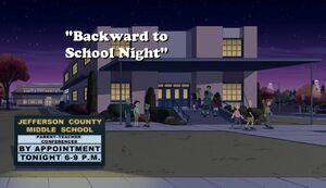 Backward to School Night title card