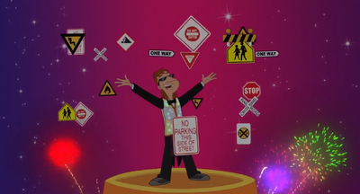 Milo Murphy's Law Disaster of My Dreams Railroad Crossing Sign 4 (and other traffic signs)