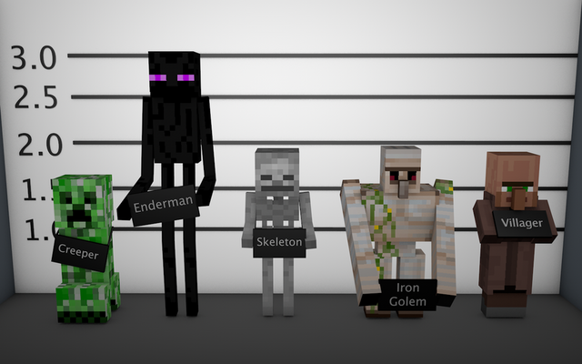 File:Minecraft mob lineup wallpaper by younggeorge-d5rngge.png