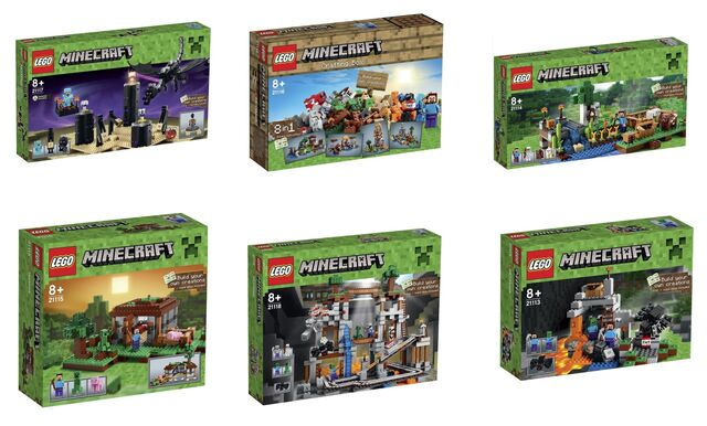 File:LEGO-Minecraft-Microworld-2015-Sets-21117-The-Ender-Dragon-21116-Creative-Box-21115-The-First-Night-21118-The-Mine-21114-The-Farm-21113-The-Cave.jpg