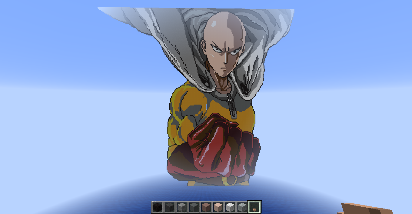 image saitama one punch man minecraft pixel art by micfal d9n1zsg