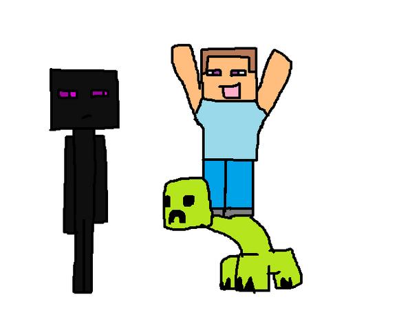 File:Steve on creeper.png