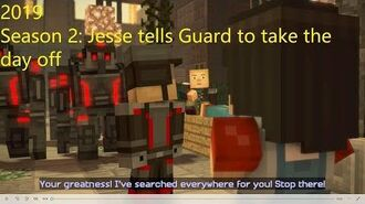 Minecraft Story Mode Season 2 Jesse tells Guard to take the day off