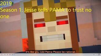 Minecraft Story Mode Season 1 Jesse tells PAMA to trust no one