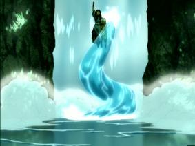 Katara creates a waterspout