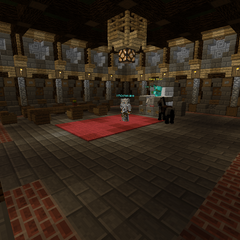 The throne room. King Sparklez sits on top of his stone throne, with several Defenders clustered around him.