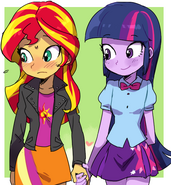 808988 safe twilight sparkle blushing equestria girls cute upvotes galore sunset shimmer adorable adorable as fuck twiabetes