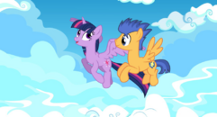 Twilight sparkle and flash sentry flying together by eunjinshin-d7o0bb7