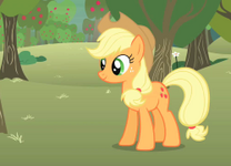 Applejack bucking apples