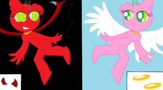 Anthro pony base two sides (angel and demon) crazier anti element