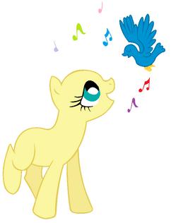 Base fluttershy cantando con las aves