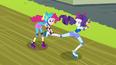 Pinkie Pie grabs Rarity's leg EG3