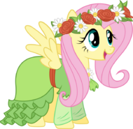 Fluttershy in haaaaaaaar dress by techrainbow-d5vb61x