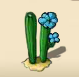 Twin cactus blooming in blue