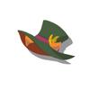 Orange Cat Silk Hat(Green)