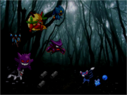 Glameow and Azurill haunted forest