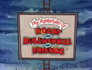 The Adventures of Rocky and Bullwinkle and Friends logo on a sign at a circus