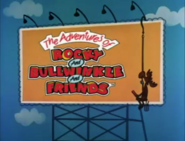 The Adventures of Rocky and Bullwinkle and Friends logo on a billboard
