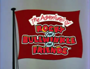 The Adventures of Rocky and Bullwinkle and Friends logo on a flag