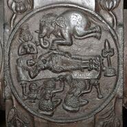 Dream of Queen Maya - Medallion - 2nd Century BCE - Red Sandstone - Bharhut Stupa Railing Pillar - Madhya Pradesh - Indian Museum - Kolkata 2012-11-16 1834