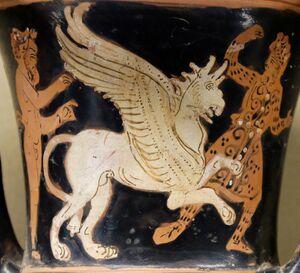Satyr griffin Arimaspus Louvre CA491
