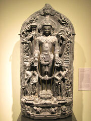 God Vishnu with Lakshmi and Saraswati