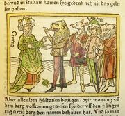 Woodcut illustration of Circe and Odysseus with men transformed into animals - Penn Provenance Project