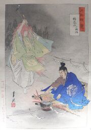 Blacksmith Munechika, helped by a fox spirit, forging the blade Ko-Gitsune Maru, by Ogata Gekkō