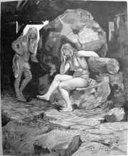 Fenja och Menja vid kvarnen Grotte (xylograph)