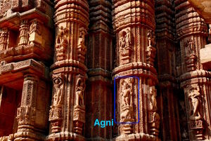Agni icon at Raja Rani temple Bhubaneshwar Odisha