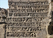 A relief summary of Ramayana at Hindu temple cave 16 Ellora India